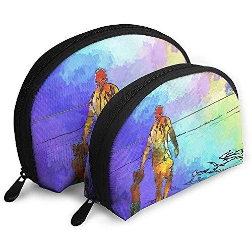 Ozean Strand Sonnenuntergang Sommer Gemütliche Familie Malerei Tragbare Taschen Kosmetiktasche Kulturbeutel Multifunktions Tragbare Reisetaschen mit Reißverschluss