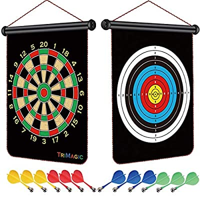 TriMagic Magnetic Dart Board - Best Birthday or Christmas Toy Gift for 6 7 8 9 10 12 Year Old Boys, Cool Outdoor Games for Kids 8-12, Include Board and 12 Magnetic Darts