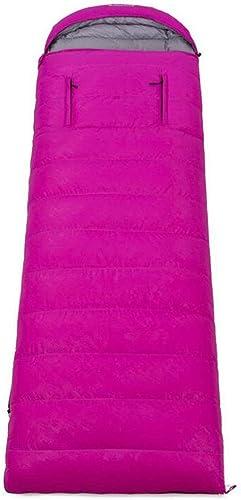 DAFREW Sac de Couchage enveloppe, équipement de Plein air Four Seasons Keep Warm Sleep Down Sac de Couchage Adulte avec Sac de Compression (Couleur   rose, Taille   2KG)