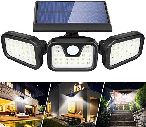 AVEDISANTE Luz solar exterior 108 LED de tres cabezales con mando a distancia, lámparas solares, versión mejorada, luz solar exterior IPX6 Luz solar exterior impermeable de 360 °, con sensor de movimiento, apta para jardines, terrazas, terrazas, casas, carreteras