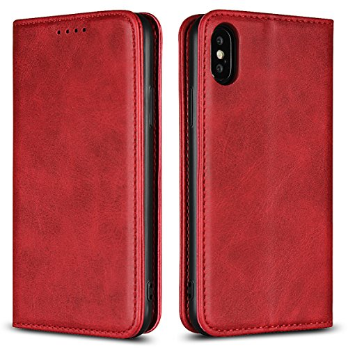 Copmob Funda iPhone X, Funda Piel para iPhone XS, Funda Cuero Premium Carcasa Case Soporte Plegable, Ranuras para Tarjetas y Billetes, Estilo Libro, Cierre Magnético para iPhone X/XS, Vino Tinto
