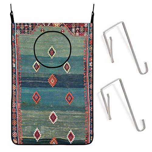 GIERTER Sivas - Cesto de lavandería para colgar, diseño de nicho turco antiguo Kilim sucio, cesta plegable con cremallera, para baño, universidad, armario, detrás de las puertas