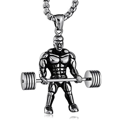Aeici Gewichtheben Trainieren Halskette für Männer Herkules Hantel Anhänger Edelstahl Gym Halskette Silber
