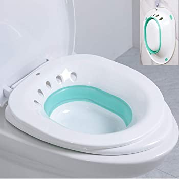 H&W Sitz Bath,Foldable squat free sitz bath, special care basin for pregnant women, used for hemorrhoids and perineum treatment, relieve and relieve inflammation and swelling of vagina or anus (green)