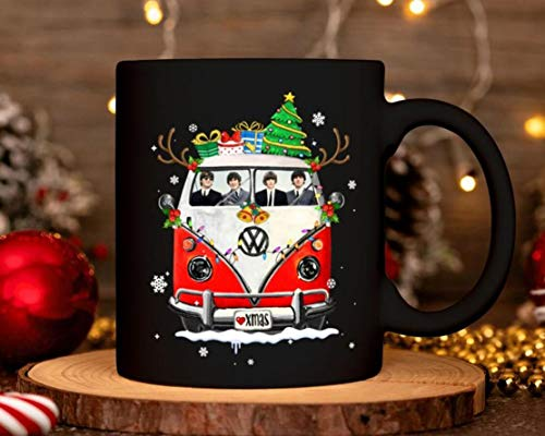 The Beatles In Hippie Car Christmas Mug Cup Of Funny The Beatles Lover Christmas Ceramic Coffee Mug Mug With Handle, Insulated Ceramic Reusable Coffee Cup, Coffee Travel Mug