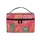 Romantic Angel Makeup Bag Paisley Flower Elephant Travel Cosmetic Bags Organizer Train Case Toiletry Make Up Pouch