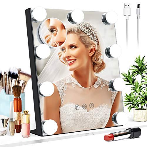Mayepoo Tishch Schminkspiegel mit Licht, 3 Beleuchtungsmodi,USB einstellbare Hollywood Spiegel, mit 10-facher Vergroßerspiegel, kein Flimmern, 25 * 30CM Beleuchtung Spiegel Schwarz