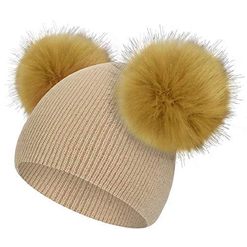 Yuson Girl Cappello Neonato con PON PON 0-3Anni Berretto A Maglia Bambino Inverno Autunno in Cotton Caldo Antivento Morbido per Ragazzo Ragazza (Cachi)