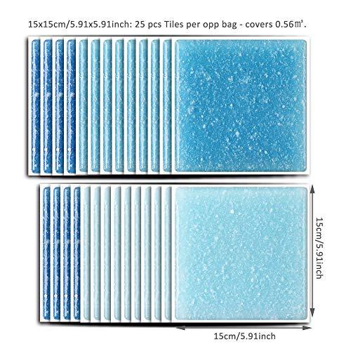 WMHDSJ Fliesenaufkleber Blauer Sternenhimmel 15x15cm fliesenaufkleber Badezimmer Küche Kinderzimmer TV Hintergrund Dekoration Wasserdicht selbstklebend25PCS