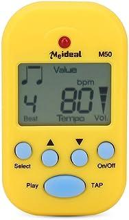 Meideal M50 ミニ メトロノーム 電子デジタルテンポ 高ボリューム クリップ式 楽器通用 コンパクト プラスチック 5カラー(イェロー)