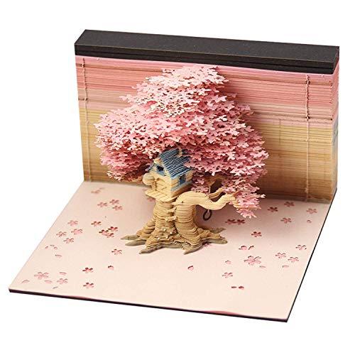 WWKA DIY 1 Set Hinweis Papier Kunst Baustein 3D Baum Haus Modell mit Hellen Dekorationen für Home Craft Miniaturen Convenience Klebrige Memos LLAN