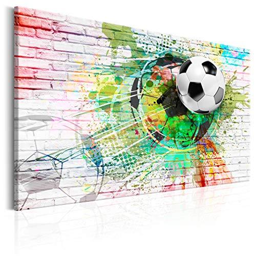 decomonkey Bilder Fußball 120x80 cm 1 Teilig Leinwandbilder Bild auf Leinwand Wandbild Kunstdruck Wanddeko Wand Wohnzimmer Wanddekoration Deko Sport Ziegel bunt Ball Kinder Kinderzimmer