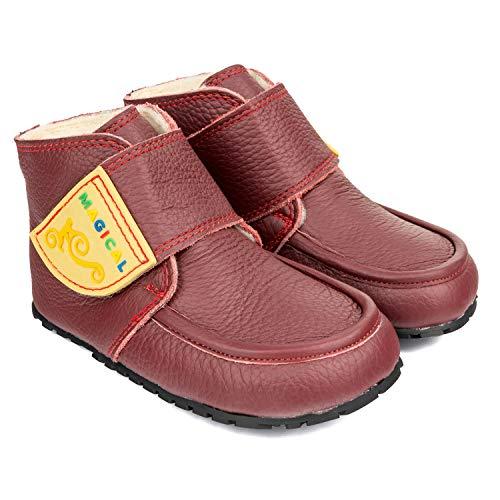 Magical Shoes Weiche Herbst-Winter Kinderschuhe   Kinder   Barfußschuhe   Warme   Krabbelschuhe-Baby   rutschfeste Warme Schuhe   Outdoor   Leder,   :24,   :Ziu Ziu - Burgunderrot