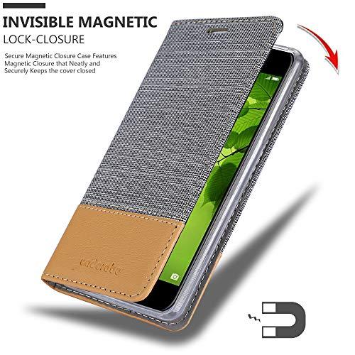 Cadorabo Hülle für Huawei NOVA 2 - Hülle in HELL GRAU BRAUN – Handyhülle mit Standfunktion und Kartenfach im Stoff Design - Case Cover Schutzhülle Etui Tasche Book - 6