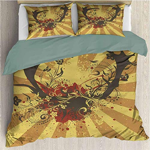 Popun Antlers Three-Piece Bed Duvet Cover Grunge Stylized Big Antlers of Stag Floral Design Abstract Design Illustration Duvet Cover Set & Pillowcase Yellow Mustard California King Size