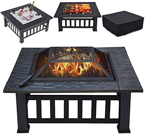 KAYBELE Rcinodhilary Multifunctional Metal Fire Pit BBQ Grill 32 Inch Outdoor Metal Brazier Square Table Firepit Garden Patio Heater Fire Pit & Grill Equipment with Waterproof Cover-Black_Square