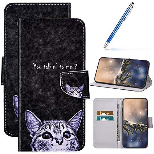 Kompatibel mit Huawei P40 Lite 5G Hülle Lederhülle Handytasche,Bunte Gemalt Muster PU Leder Schutzhülle Klappbar Bookstyle Brieftasche Handyhülle Wallet Tasche Case Flip Hülle,kleine Katze