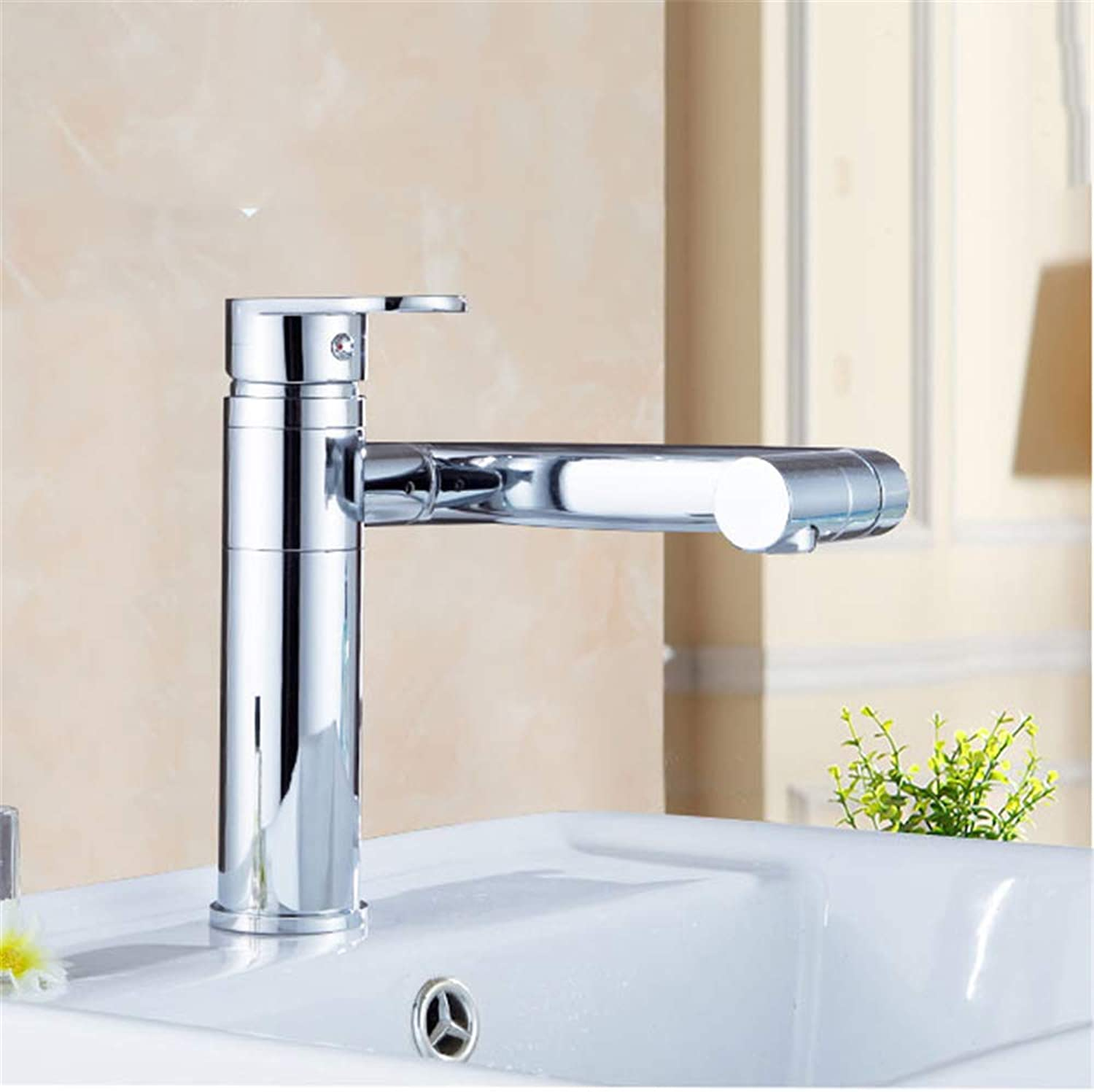 YBHNB Bathroom Basin Taps, Multi-function 360 Degree redating Wash Basin Faucet Hot and Cold Mixing Wash Basin Sink Faucet Polishing Single handle Faucet(Low)