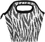 Bolsa de almuerzo con diseño de rayas de tigre, fiambrera con aislamiento en blanco y negro, bolso portátil térmico, contenedor de alimentos, enfriador, reutilizable