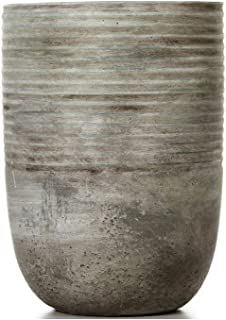 "Hosley Ceramic Mid Century Modern Grey Design Planter-7.5"" High. Ideal Gift for Weddings Contemporary Decor Party Spa"