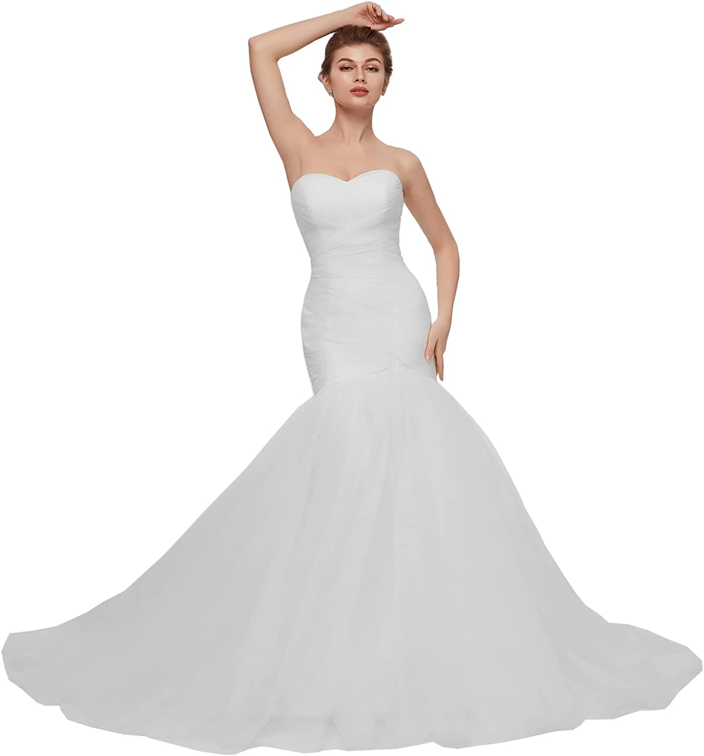 Sexy Sweetheart Mermaid Wedding Dresses for Bride 2021 Tulle Pleated Lace Up Corset Custom Bridal Gowns Slim Fitted Trumpet