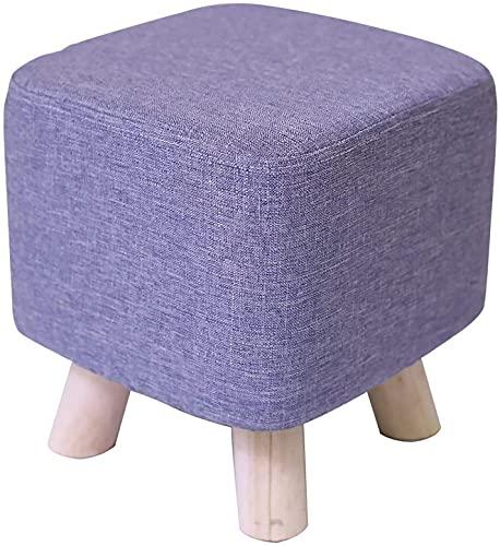 Taburetes Taburete de descanso del pie otomano, asiento acolchado Pouffe Pouffe de cuero tapizado de madera maciza MARCO POUF POUF - 32 * 32 * 38cm ( Color : Purple , Size : 28x28x30cm(11x11x12inch )