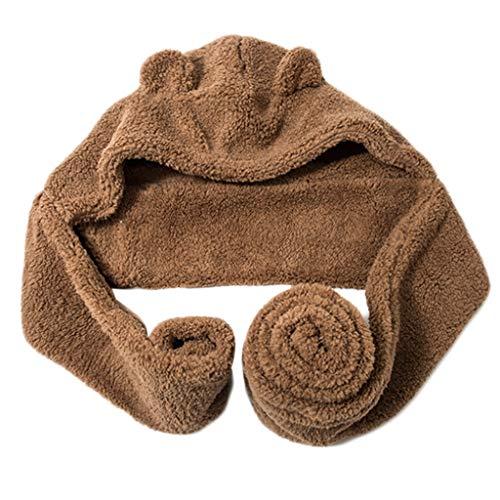 Gorro largo con capucha para mujer, 2 en 1, diseo de oso y orejas de oso