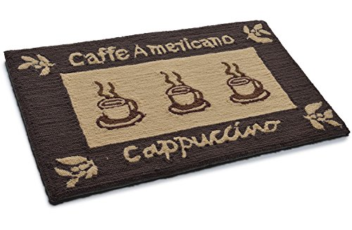 Amor Home Premium Hand-Made Hooked Non-Slip Ultra Comfort Memory Foam Kitchen Rug, Brown Pattern