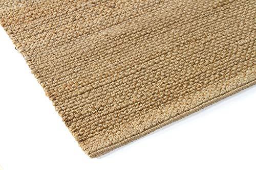 HAMID Juteteppich - Giralda Teppich 100% Natürliche Jutefaser - Weicher Teppich und Hohe Festigkeit - Handgewebt - Wohnzimmer, Esszimmer, Schlafzimmer, Flurteppich - Natürlich (170x120cm) - 2