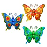 CAPRILO Set de 3 Apliques de Pared Decorativos de Metal Mariposas Multicolor. Cuadros y Adornos. Decoración Jardín. Regalos Originales. 1 x 23 x 28.5 cm.