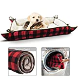 Tirrinia Foldable Pet Bed Mat for Small Medium Dogs Cats Ultra-Soft Plush Nap Pad for Travel Car Camping Kennels Carriers Washable 38' x 25' Buffalo Plaid Red