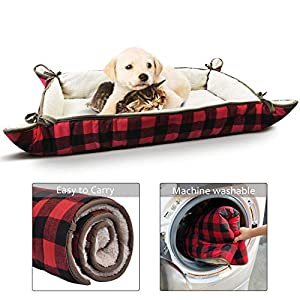 Tirrinia Foldable Pet Bed Mat for Small Medium Dogs Cats Ultra-Soft Plush Nap Pad for Travel Car Camping Kennels Carriers Washable 38″ x 25″