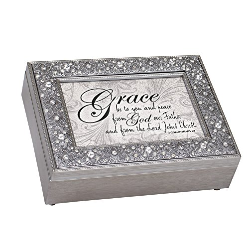 Cottage Garden Grace Peace From God Filigree Jewel Bead - Caja de música, color plateado