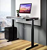Seville Classics Airlift Electric Standing Desk with Drawer 2.4A USB Ports, 3 Memory Buttons, (Max. Height 47') Dual Motor Computer Table, Adjustable, Tempered Black Glass