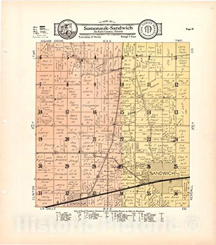 Historic 1929 Map - Atlas and plat Book of De Kalb County, Illinois - Map of Somonauk-Sandwich De Kalb County, Illinois 39in x 44in