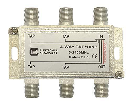 Elettronica Cusano 9433-10 Derivatore satellitare a 4 uscite Derivate da 10 Db, Grigio