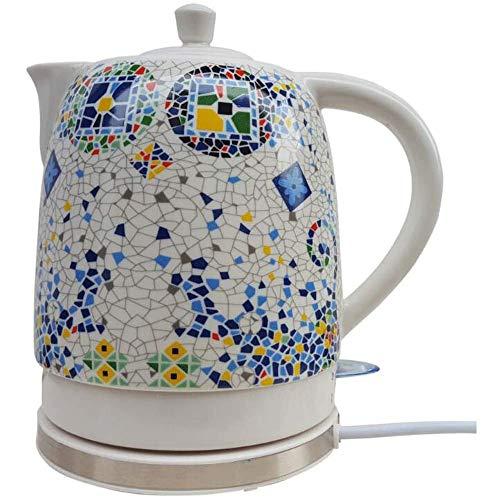 MISTLI Bouilloire électrique Bouilloire Traditionnelle Motif de mosaïque Blanche cuisiniers Eau Rapide pour la Soupe au café de la Bouilloire d'avoine 1L