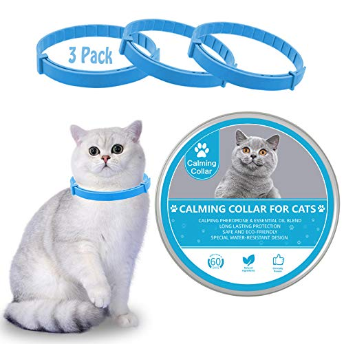 Calming Collar for Cats, Kitten Pheromone Anti-Anxiety Calm Cat Collars, Adjustable Reduce Relieve Anxiety Relaxants Keep Pet Long Lasting Natural Calm, Safe and Waterproof Cat Calm Collar (3 Pack)