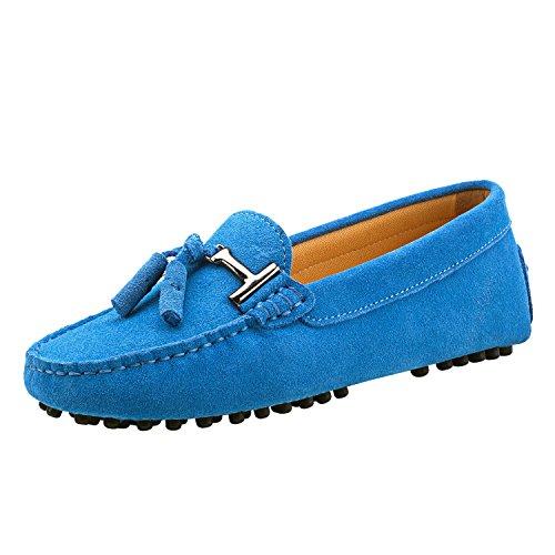 Shenduo Damen Mokassins Lederschuhe Freizeit Slippers mit Metallschnallen und Bällchen Sommer Schuhe D7057 Blau 37