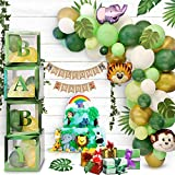 Partibear 96 Pieces Woodland Animals Baby Shower Decorations Boy Girl   Neutral Green Baby Boxes Decorations for Baby Shower with Balloon Arch and Palm Leaves