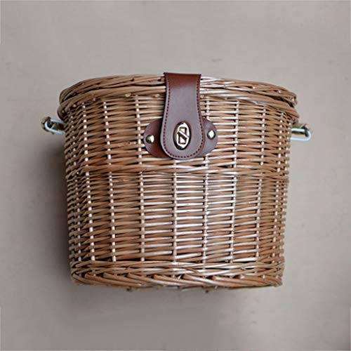 Best Bargain Bicycle Basket Waterproof Rattan Front Handle for Children's Bicycles Youth Basket with...
