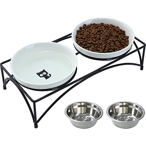 FOREYY Elevated Cat Bowls with 2 Ceramic Bowls and...