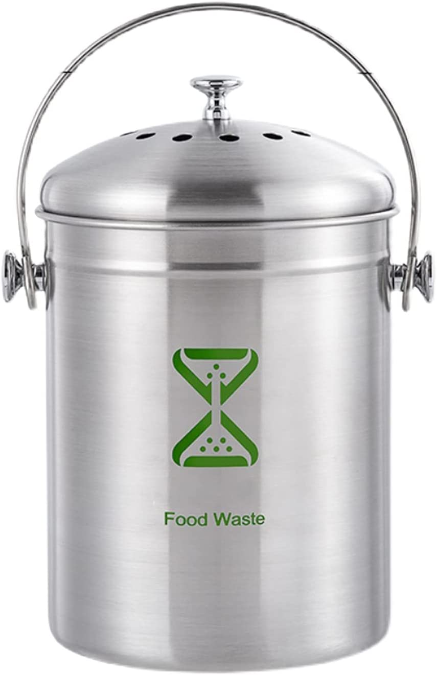 Waste Minneapolis Mall Bins Compost Bin Max 83% OFF Kitchen with - Counte Lid Steel Stainless