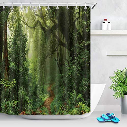 LB 180x200cm Extra Lang Duschvorhang Tropischer Grün Wald Polyester Wasserdicht Anti Schimmel Badezimmer Gardinen mit 12 Haken,Dschungel