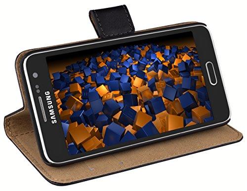 mumbi Echt Leder Bookstyle Case kompatibel mit Samsung Galaxy A3 2015 Hülle Leder Tasche Case Wallet, schwarz