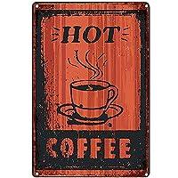 ブリキ メタル プレート サイン 2枚 ホットコーヒー錫金属看板ウォールアート|カフェ/キッチン/コーヒーコーナー/コーヒーポット用の厚いブリキプリントポスター壁の装飾