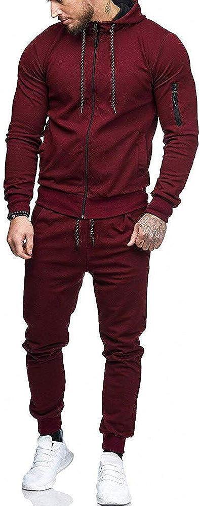 Aayomet Men's Tracksuit Zipper Joggers Hoodie Sweatshirt Pants Set Two Piece Sweatsuits Outfits Sports Suit Activewear