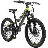BIKESTAR MTB Mountain Bike Alluminio per Bambini 6-9 Anni | Bicicletta 20 Pollici 7 velocità Shimano, Hardtail, Freni a Disco, sospensioni | Nero Verde