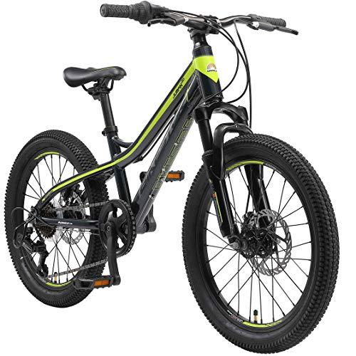 BIKESTAR Alu Mountainbike Jugendfahrrad 20 Zoll ab 6-9 Jahre Hardtail | 7 Gang Shimano Schaltung, Scheibenbremse, Federgabel | Kinder Fahrrad Schwarz Grün | Risikofrei Testen