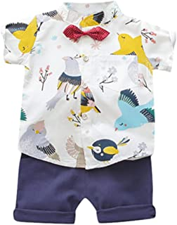 Zrom Baby Boys and Girls Clothing Set,1-5 Years Toddler Boys Baby Kids Girl Cartoon Animals Print Tops+Shorts Outfit Set C...
